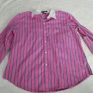 Lauren Ralph Lauren Pink Strip Button Down Shirt L